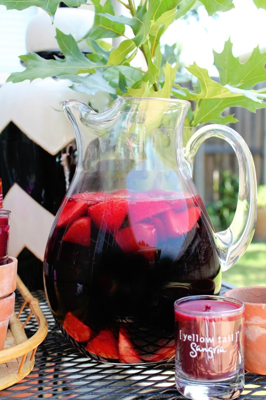 Yellow Tail Sangria in Pitcher with Fruit
