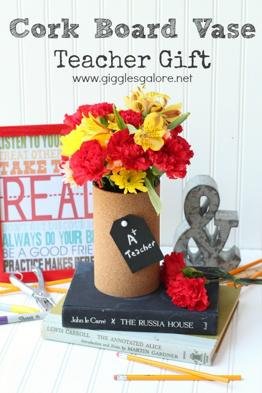 Cork Board Vase Teacher Gift by Giggles Galore