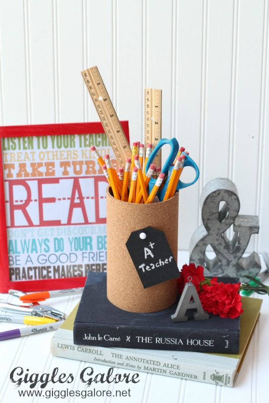 Cork Board Vase with School Supplies