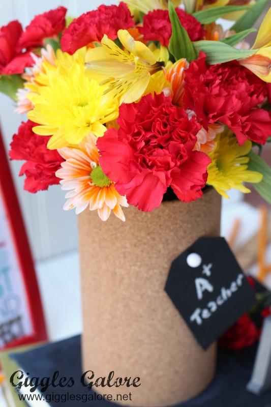 Flowers in Cork Board Vase