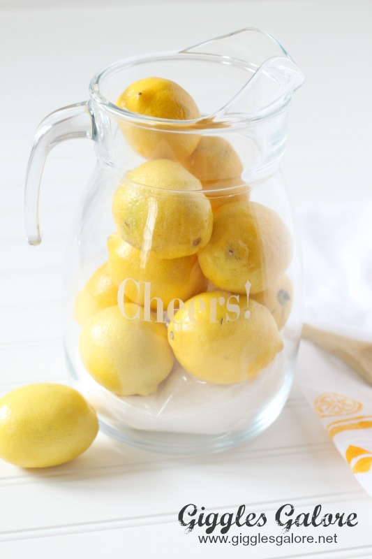 Homemade Lemonade Pitcher with Lemons