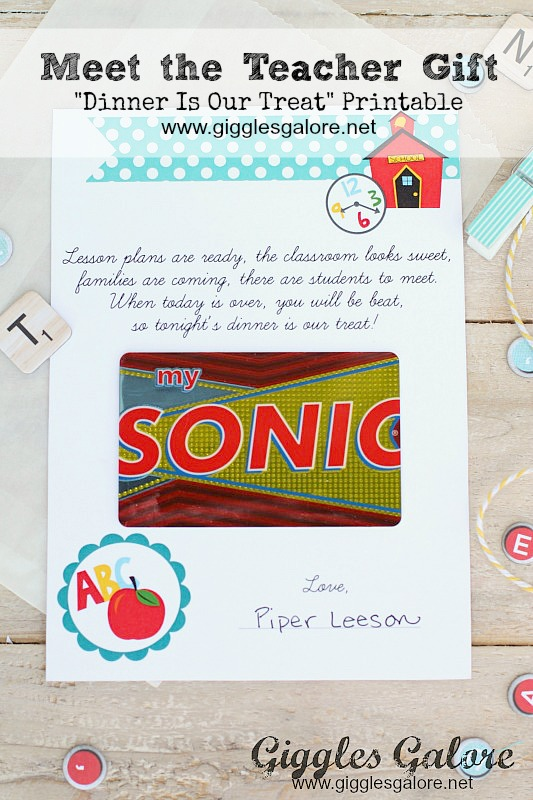 Meet the Teacher Dinner Is Our Treat Gift Card Printable