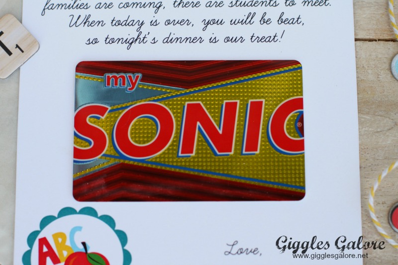 Meet the Teacher Sonic Gift Card