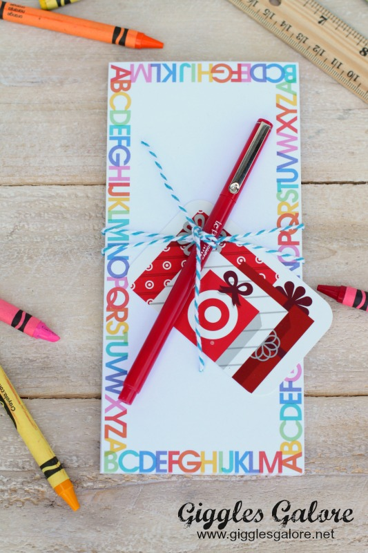 Notepad and Target Gift Card Teacher Gift