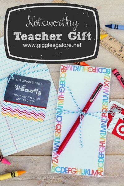 Noteworthy teacher gift with free printable giggles galore
