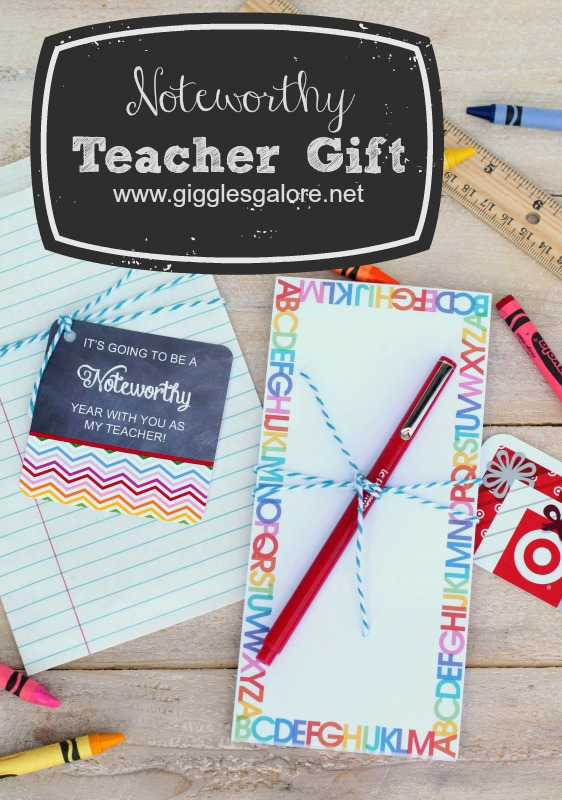 Noteworthy Teacher Gift with Free Printable_Giggles Galore