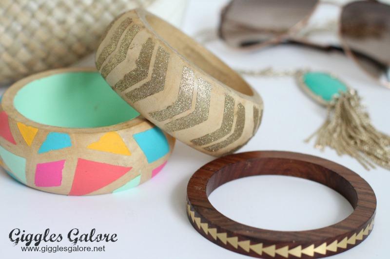 Painted Geo Wooden Bracelets