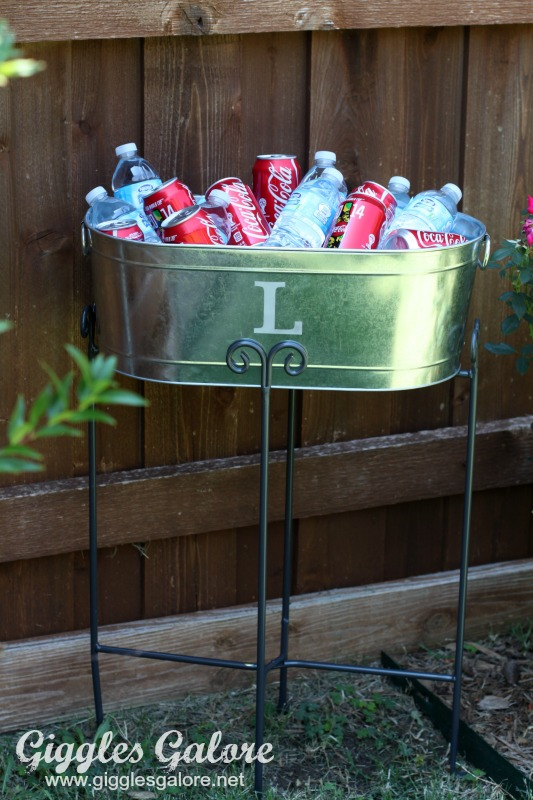 Personalized Galvanized Tub and Stand