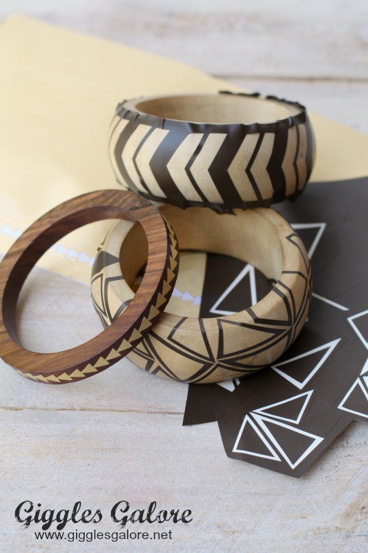Wooden Bracelets with Vinyl Template