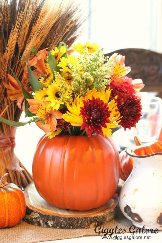 Carved pumpkin flower vase