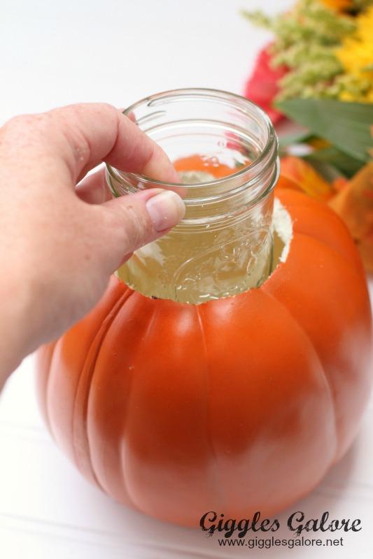 Carved Pumpkin with Mason Jar Vase