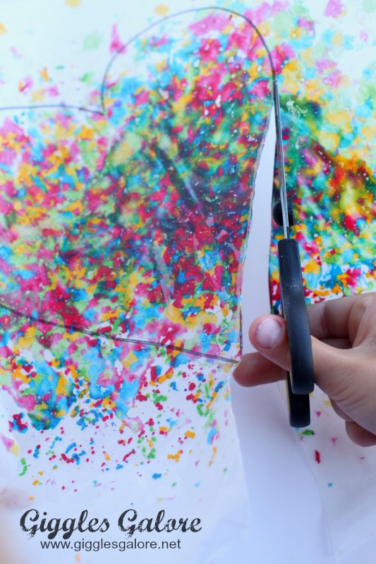 Cutting Melted Crayon Art