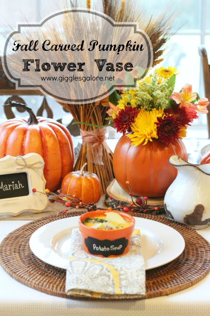 Fall Carved Pumpkin Flower Vase_Giggles Galore