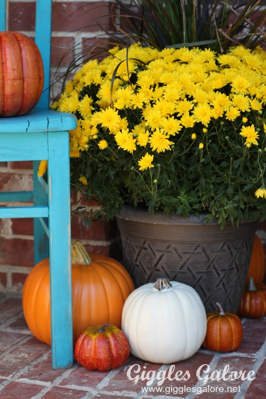 Fall Porch Decor and Painted Chair