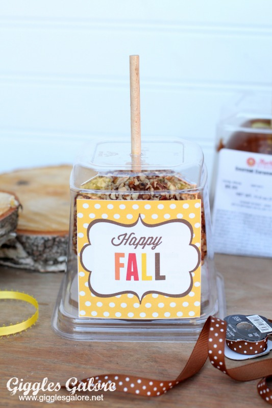 Happy Fall Label on Caramel Apple Box