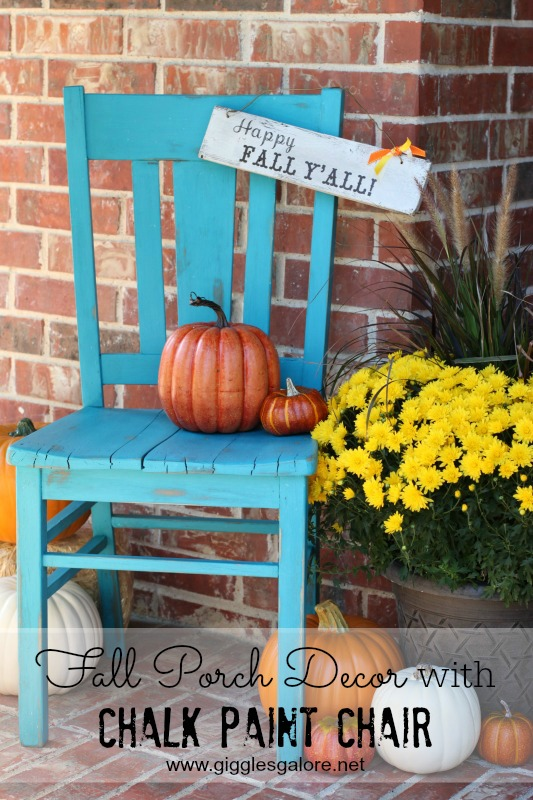 Happy Fall Yall Porch Decor with Chalk Paint Chair