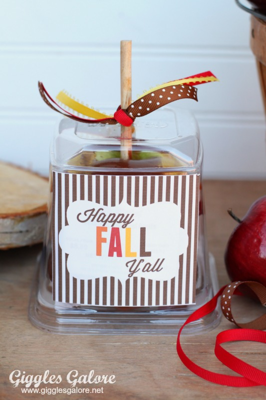 photo relating to Happy Fall Yall Printable named Caramel Apples and Delighted Tumble Yall Printable - Giggles Galore
