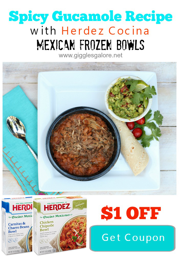 Spicy Gucamole with Herdez Cocina Mexican Frozen Bowls