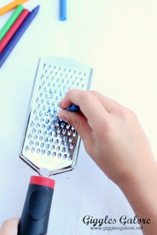Wax crayon cheese grater tool