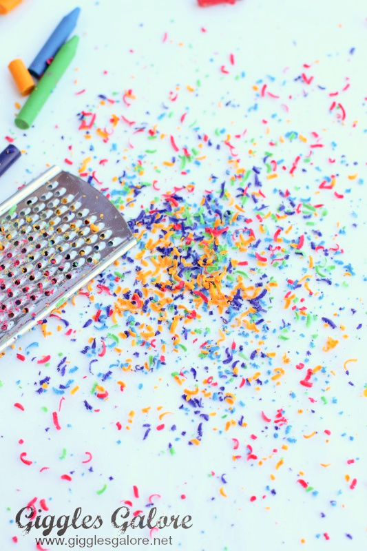 Wax crayon shavings