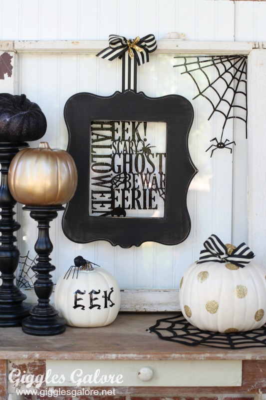 Black, White, and Gold Halloween Pumpkin Display by Mariah Leeson