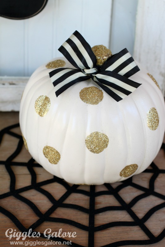 Black and White Polkadot Glitter Pumpkin