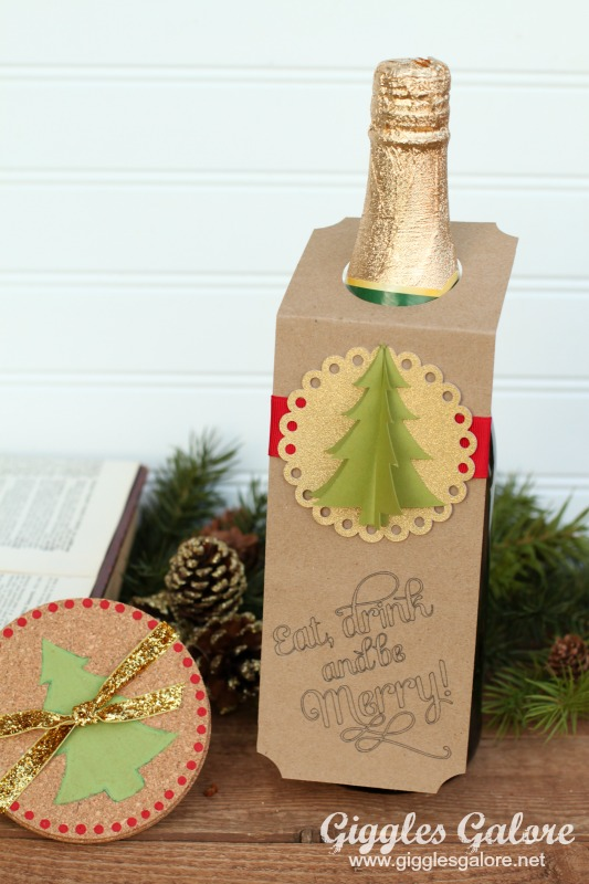 Diy christmas wine bottle gift tags for How to decorate a wine bottle for a gift
