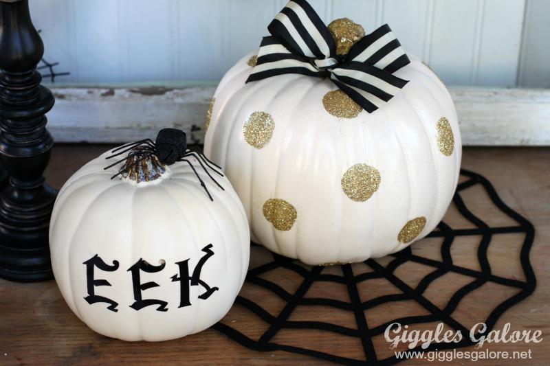 White and Gold Polka Dot Pumpkins