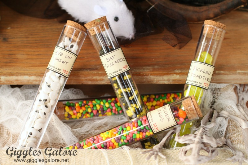 Mad Scientist Test Tubes with Halloween Candy