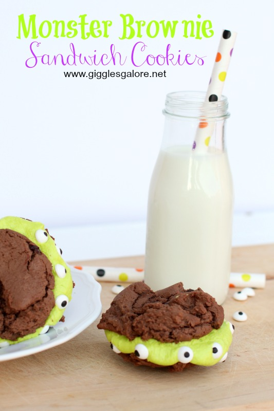 Monster Brownie Sandwich Cookies_Giggles Galore