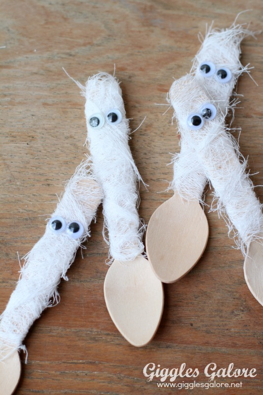 Mummy Wrapped Wooden Spoons