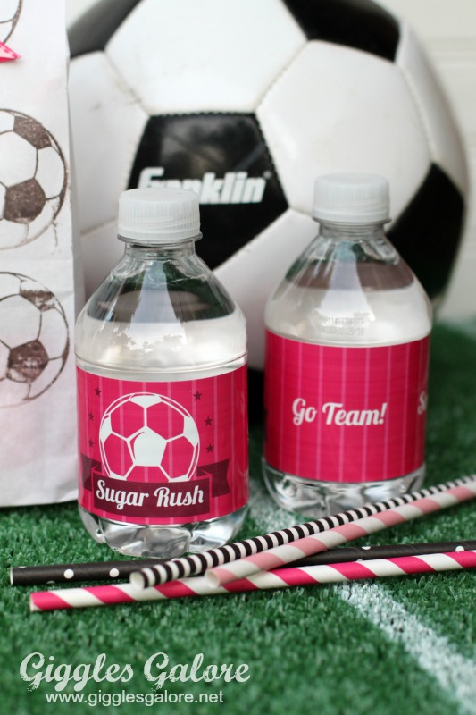 Sugar Rush Soccer Water Bottle Labels