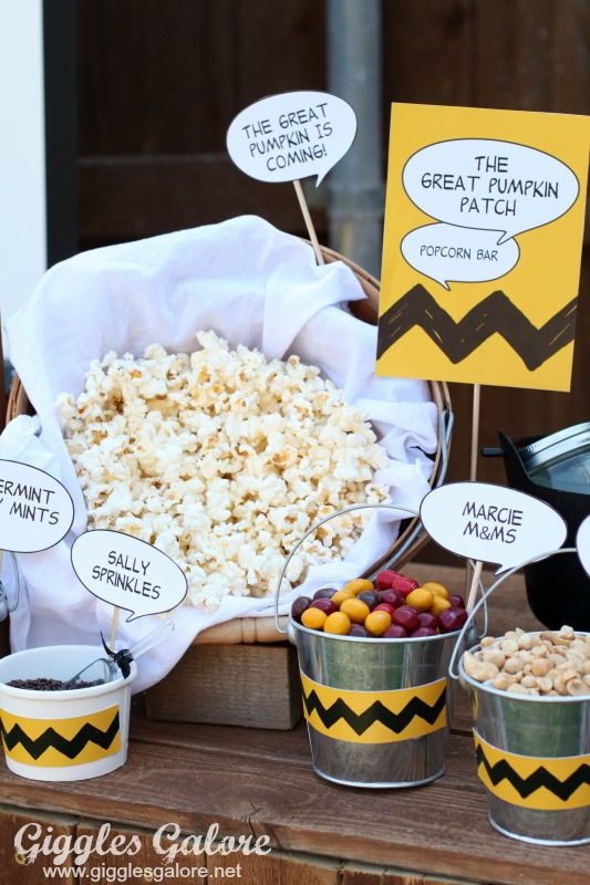 The Great Pumpkin Patch Popcorn Bar Movie Party