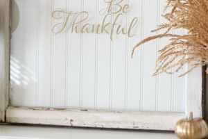 Be Thankful Vinyl on Window