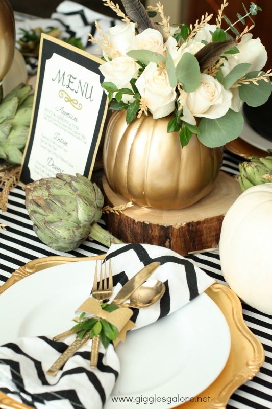 Giggles Galore Thanksgiving Menu and Table Setting