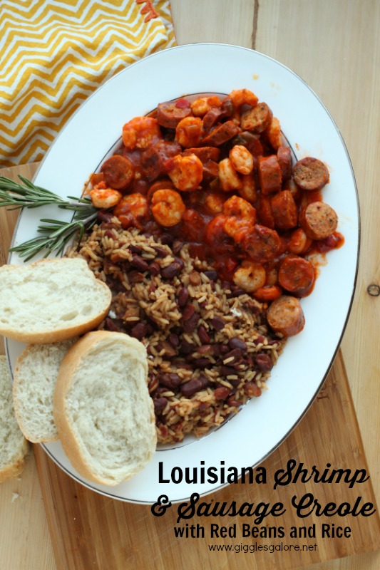 Louisiana Shrimp and Sausage Creole with Red Beans and Rice