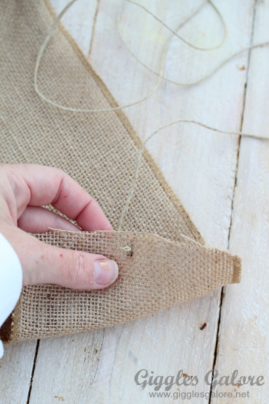 Making Knot Burlap Garland