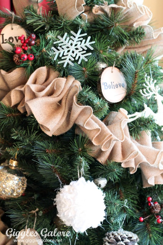 Rustic Burlap Garland on Tree