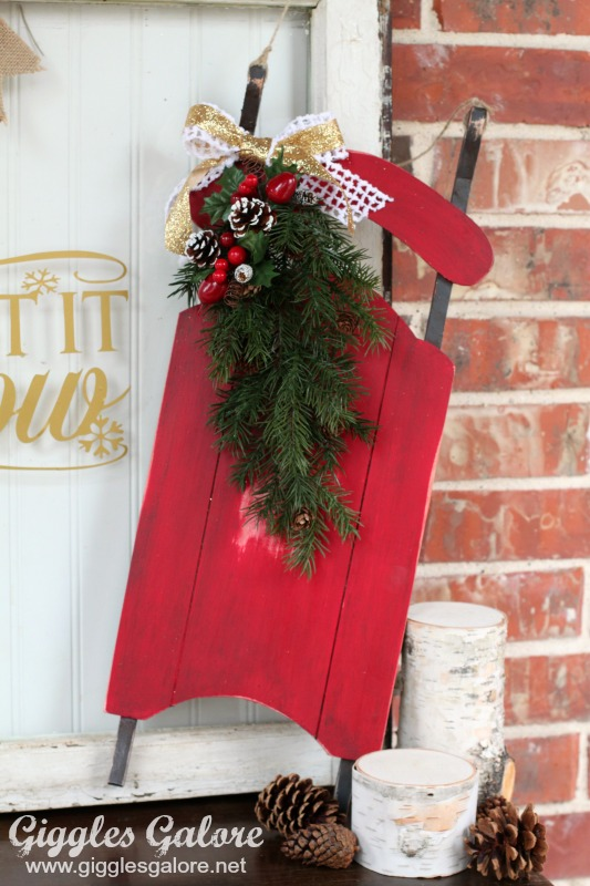 Chalky Finish Red Painted Mini Sled