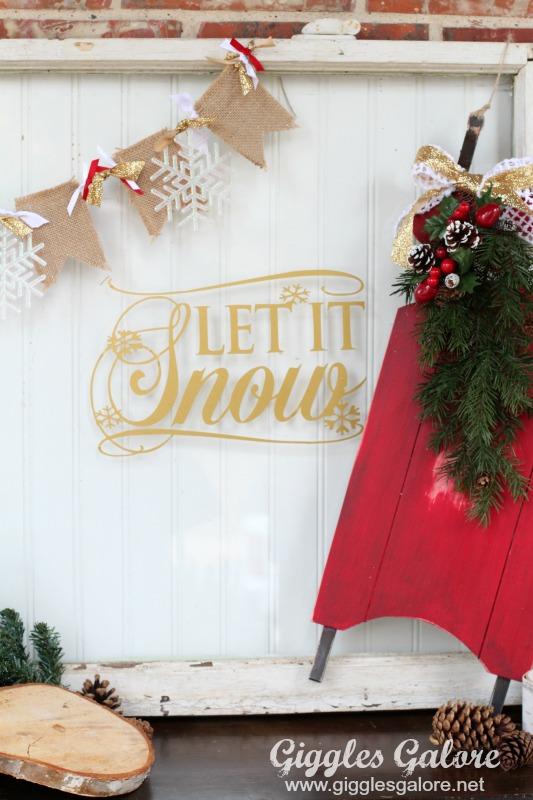 Let It Snow Vintage Window