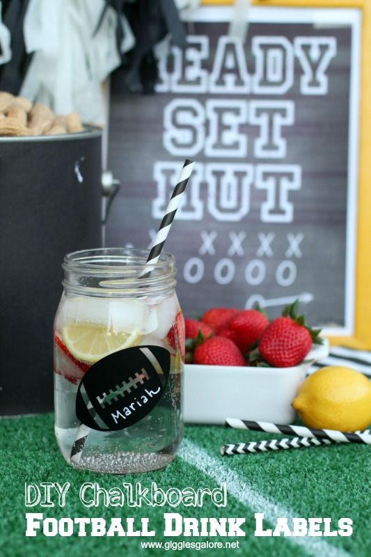 DIY Chalkboard Football Drink Labels_Giggles Galore