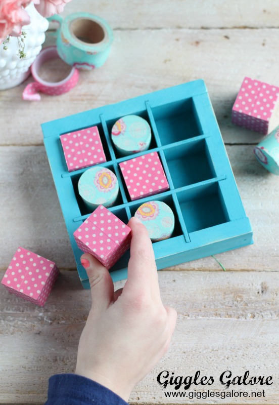 Playing Wooden Washi Tape Valentines Tic Tac Toe