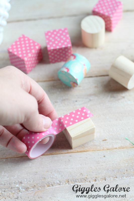 Washi Tape Blocks for Tic Tac Toe
