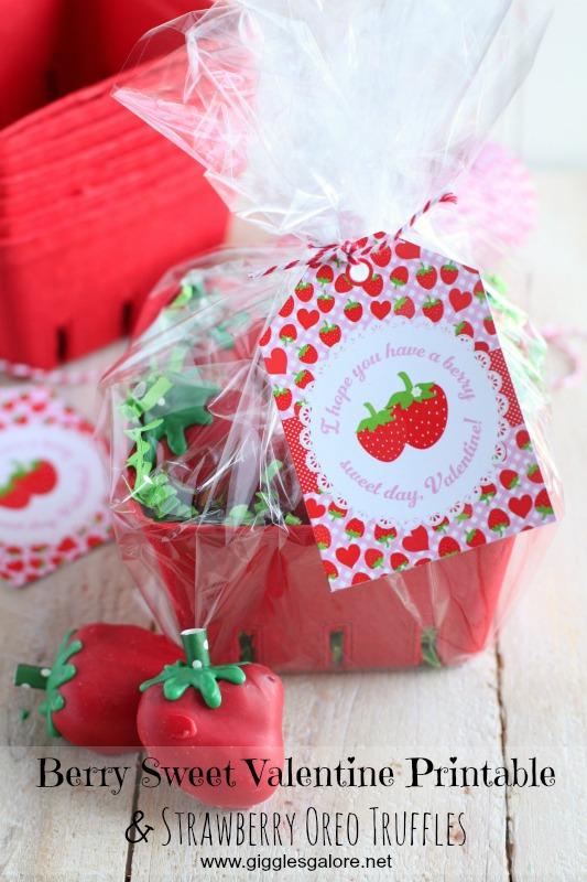 Berry Sweet Valentine Printable and Strawberry Oreo Truffles