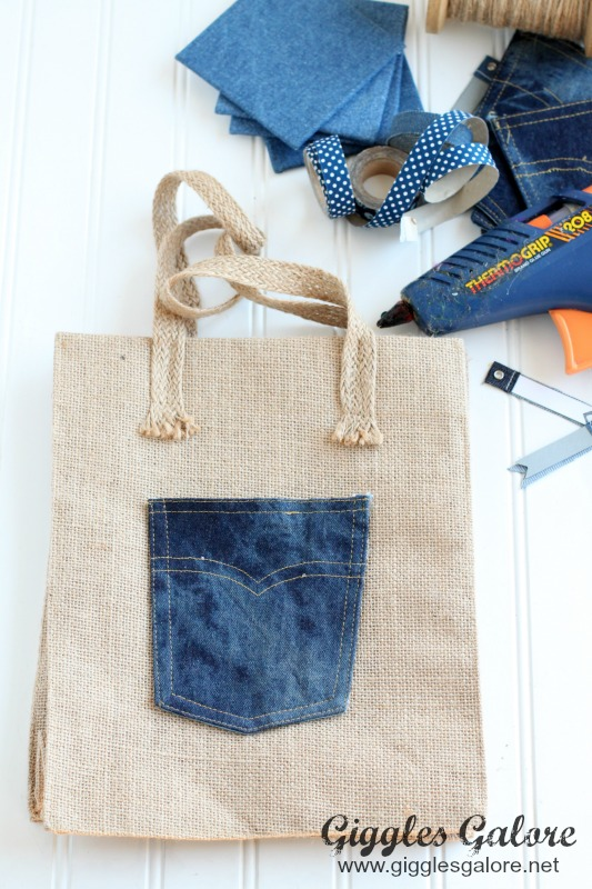 Denim Pocket on Burlap Gift Bag