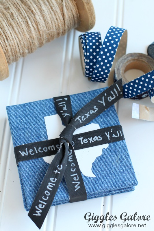 Denim Texas Coasters with Chalkboard Ribbon
