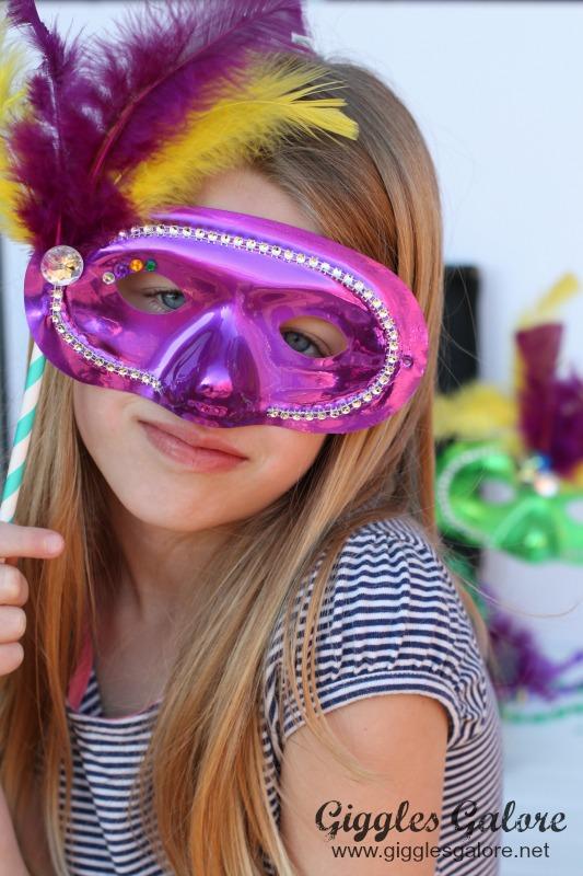 Wearing DIY Mardi Gras Mask