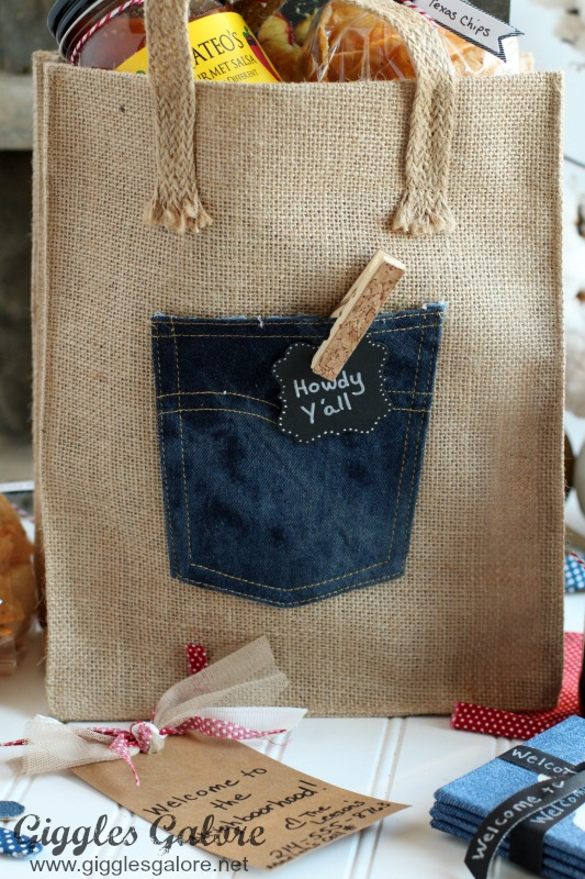 Welcome Note in Denim Pocket Gift Bag