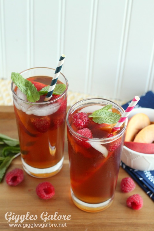 Peach Tea with Raspberries