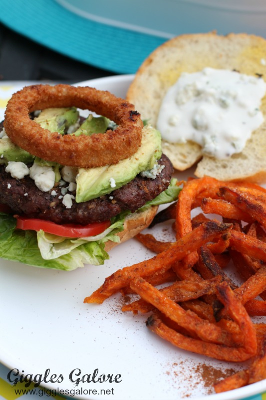 Blue Cheese Buffalo Burger with Onion Ring
